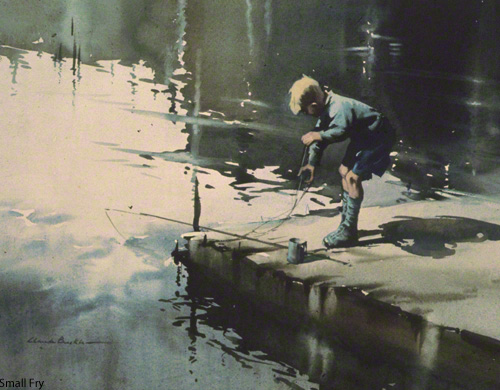 A watercolour by the artist Claude Buckle showing a small boy fishing from a jetty entitled Small 		       	    Fry